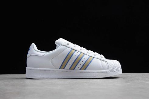 Adidas Originals Superstar Footwear White Blue Gold Metallic Shoes CG0619