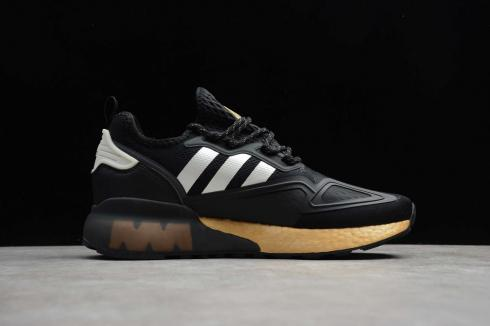 Adidas ZX 2K BOOST Core Black Gold Metallic Running Shoes FY2014