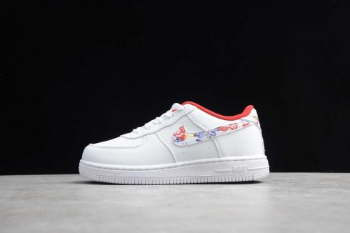 2020 Kids Nike Air Force 1 Low White Derby Red Chinese New Year CU2980-991