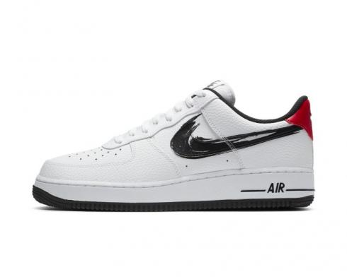 Nike Air Force 1 Low Brushstroke Swoosh White University Red Black DA4657-100