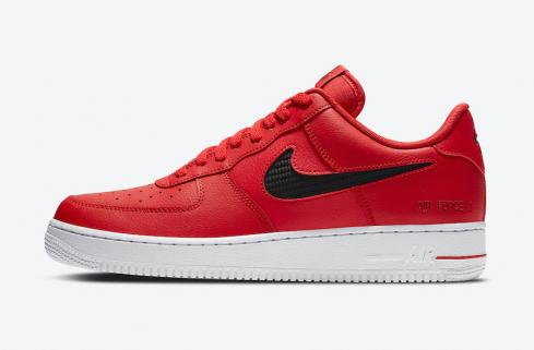 Nike Air Force 1 Low Cut Out Swoosh Red Black Shoes CZ7377-600
