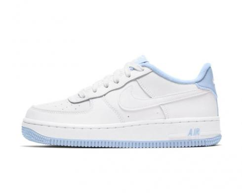 Nike Air Force 1 Low GS White Hydrogen Blue Shoes CD6915-103