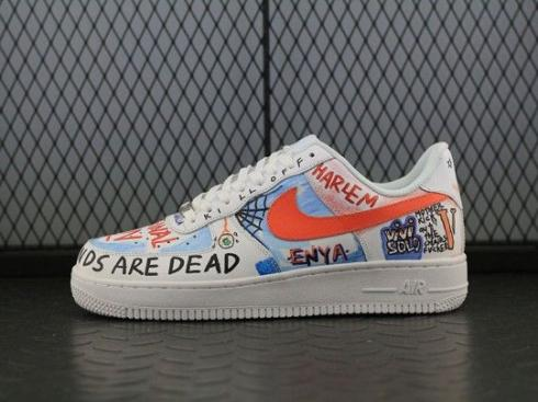 Nike Air Force 1 Low White Blue Orange Running Shoes AH5360-100