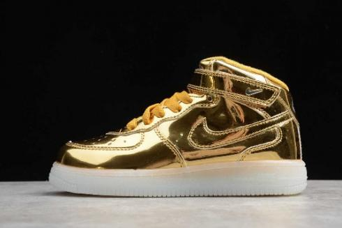 Kids Nike Air Force 1 Mid WB Metallic Gold 314197 8100 For Sale