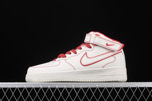 Nike Air Force 1 07 Mid White University Red Shoes AA1118-010