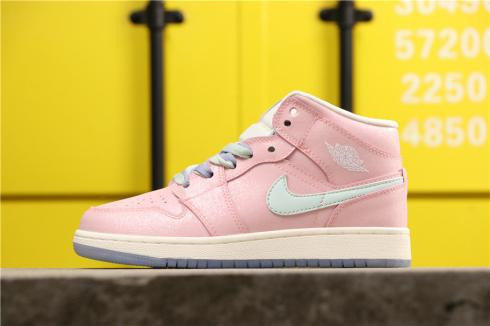 2019 Air Jordan 1 Mid Gs Pink White Purple 555112-600