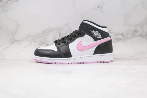 2020 Nike Air Jordan 1 Mid White Black Light Arctic Pink 555112-103