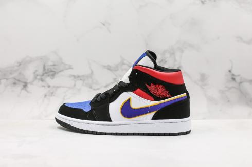 Air Jordan 1 Mid White Black University Red Purple 855545-005