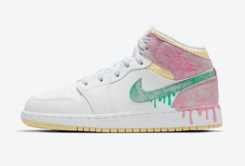 Air Jordan 1 Mid SE GS Paint Drip White Green Glow Arctic Punch DD1666-100