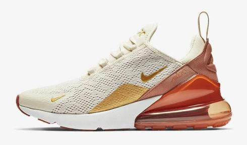 Nike Air Max 270 Light Cream Terra Blush Dusty Peach Metallic Gold AH6789-203