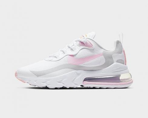 Nike Air Max 270 React White Vast Grey Pink Running Shoes CZ0372-101