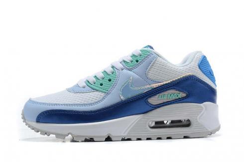 2020 New Nike Air Max 90 White Blue Hyper Jade Running Shoes CT3623-400