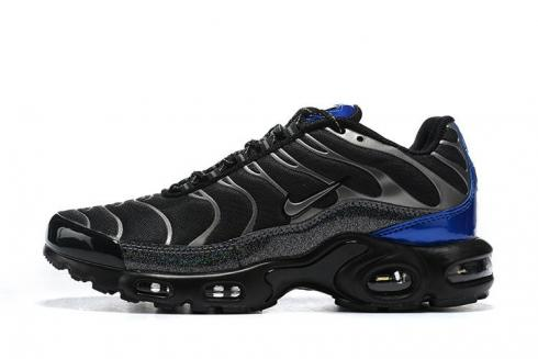 Nike Air Max Plus Black Metallic Blue Trainers Running Shoes CW2646-001