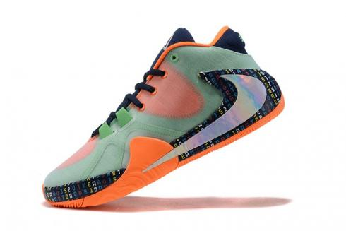Nike Zoom Freak 1 Orange Green Laser Silver Multi Color Basketball Shoes BQ5422-503
