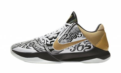 2020 Nike Zoom Kobe 5 Protro Big Stage White Metallic Gold Black CT8014-100