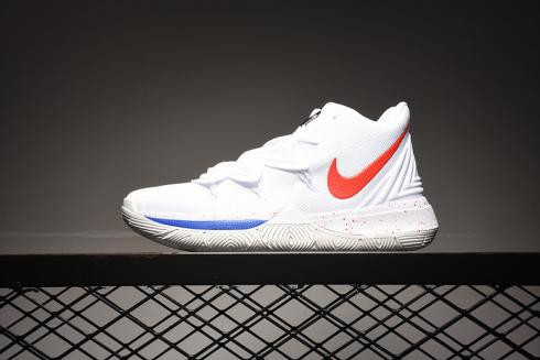 Nike Kyrie 5 White Blue Red Basketball Shoes Sneakers AO2918-608