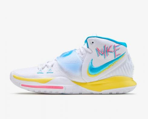 Nike Zoom Kyrie 6 Neon Graffiti White Opti Yellow Digital Pink Blue Fury BQ4630-101