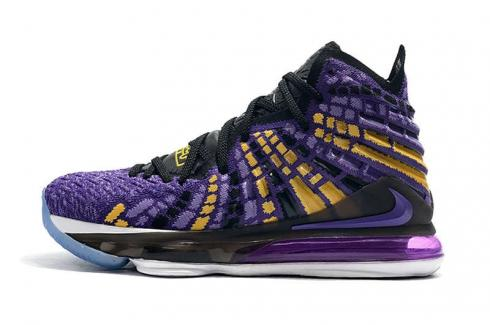 Nike Zoom Lebron XVII 17 Lakers Black Purple Yellow Gold King Basketball Shoes Release Date BQ3177-904