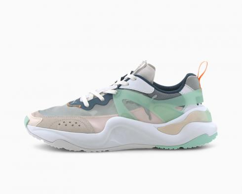 Puma Womens Sneakers Rise White Mist Green Cantaloupe Running Shoes 371777-01