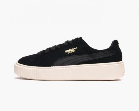 Puma Womens Suede Platform Satin Womens Shoes In Black Suede Leather 365828-05